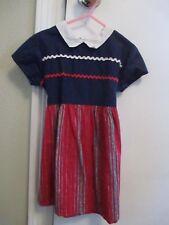 Vintage 1950's Girls Cotton Dress 2T 3T Red White Blue Stripes EVC
