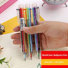 Multicolor 6 In 1 Creative Stationery Retractable Ballpoint Pen Favorite Student