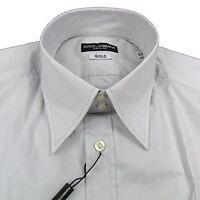 "Mens DOLCE & GABBANA D&G GOLD Slim Fit Stretch Grey Shirt 40"" RRP £200 box5612 H"