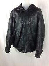 CLAIBORNE Black Soft Lambskin Leather Full Zip Fully Lined Jacket Mens Sz Large