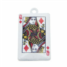 10pcs White Alloy Diamond Queen Poker Pendants Charms Jewelry Making Accessories