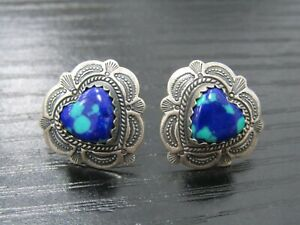 Quoc Turquoise Southwestern Concho Etched Sterling Silver Heart Stud Earrings