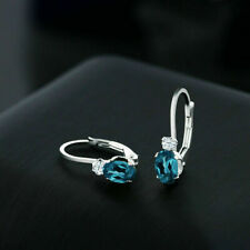2.00 Ct Oval London Blue Topaz White Sapphire Women Earrings 14K White Gold Over