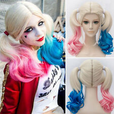 Harley Quinn Wig for Cosplay Synthetic Hair Curly Pink Blue Costume Full Wigs