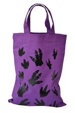 SINGLE. PARTY/GIFT BAG (Small): DINOSAUR 100% cotton. Reusable. Purple.