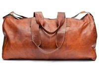 """24"""" Men's Triangle Vintage Genuine Leather large Travel Luggage Duffle Gym Bags"""