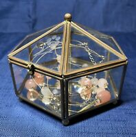 Vintage Brass, Etched Glass Hexagon Jewelry Vanity Box Trinket Display Casket 4""
