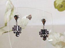 Vintage Ladies Smokey Grey Glass Crystal Stones Dangle Pierced Post Earrings