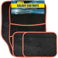4 Piece Universal Fit Carpet Red Trim Front & Rear Car Mats Non Slip Grip Floor