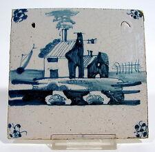 Fliese Kachel Landschaftsfliese Utrecht Spinne 18. Jhdt. blau Tile Tegel 20
