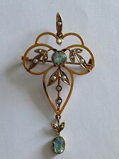 Antique Victorian 9ct Gold Aquamarine & Seed Pearl Pendant / Brooch