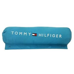 """Vtg Tommy Hilfiger Detachable Spell Out Flag Pillow Blue For Roll Up Mat 24""""X7"""""""