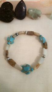 Bracelet Friendship Howlite Turtles and Amazonite Natural Stone Stackable Boho