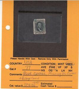 1861 Used 15ct Black Abe Lincoln  #77 SCV=$225  Blue Bullseye Cork Cancel
