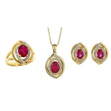 6.0ct Created Ruby Diamonds Yellow Gold Plated Brass Ring Necklace Earrings Set