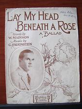 Lay My Head Beneath a Rose /Ballad -1926 sheet music -Vocal Piano Guitar Ukulele