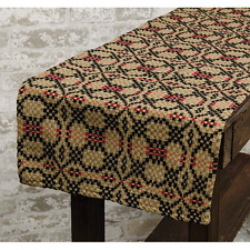 """New Primitive Colonial Coverlet LOVER'S KNOT Black Red Woven Table Runner 54"""""""