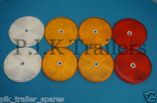 FREE P&P* Set of 8 XL 80mm Trailer Reflector Amber White & Red - Horse Box
