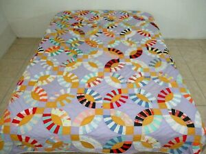 """TWIN Vintage Hand Pieced & Quilted Cotton Fabrics WEDDING RING Quilt; 88"""" x 68"""""""