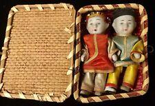 "Vintage Bisque 3.5"" Japanese Boy & Girl Dolls In Original Basket Case 1960"