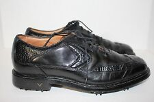 CALLAWAY PRO TOUR BLACK LEATHER CROC EMBOSSED GOLF 9.5 SPIKES CLEATS PRE-OWNED