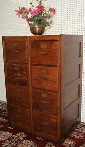 Antique American Vintage 8 drawer Double Oak Wood File Cabinet Rolltop circa1890