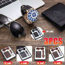 3pcs Men Watch Gift Set Comes with Watch Belt Comes Gift boxed Belt Sunglass
