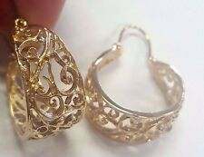 VTG 14K Yellow Gold Cutout Filigree Diamond cut Hoops Earrings- SOLID GOLD