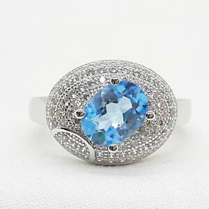World Class 2.15ct Swiss Topaz & Diamond Cut White Sapphire 925 Silver Ring SZ 7