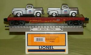 Lionel 17571 Union Pacific UP Flatcar w/Remv. 2 Ford Pick-up Load O/027ga  2003