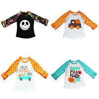 Toddler Baby Kids Boys Girls T-Shirt Tops Children Long Sleeve Outfits Clothes