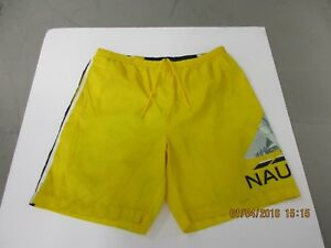 VINTAGE NAUTICA PERFORMANCE XL YELLOW GRAPHIC SWIMMING SHORTS 90s PREOWNED