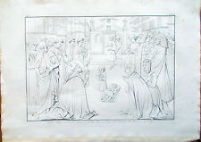 Stampa incisione 1850s-Quadro a tempera di Tommaso Guidi detto Masaccio-CXLVII