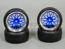 RC Car 1/10 DRIFT WHEELS TIRES Package 3MM Offset BBS Style Rims Blue Open