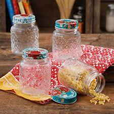 Pioneer Woman Floral Betsy Mason Storage Jars 16 oz. Set of 4 - NIB