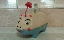Vintage 1950s Original Plastic Piggy Bank Pink & Blue With Red Hat, Works Good