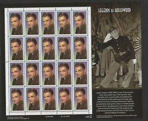 US 1999 SC #3329 33c Legends of Hollywood James Cagney Full Sheet of 20 MNH