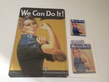 We can do it - 3er Set-Metal Sign 20x30 cm + Plate Card + Magnetic Women Power