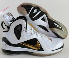 NIKE LEBRON 9 P.S ELITE JAMES HOME WHITE-METALLIC GOLD-BLACK SZ 11 (516958-100)