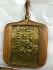 """VTG PRIMITIVE WOODEN CUTTING BOARD? BRASS EMBOSSED FLORAL WALL HANGING 11""""x17"""""""