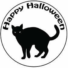 "Halloween Black Cat Cake Topper - Easy Pre-cut Round 8"" (20cm) Icing Decoration"