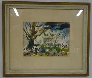 Original Midge '48 Trees Cape House Stone Wall Watercolor Framed Matted Signed