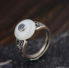 A05 Bague Argent 925 Cercle en Blanche Jade Taille Ajustable Style Antique