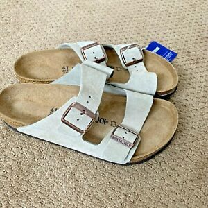 New Birkenstock 41 R Men's Arizona Sandal Suede Taupe Sand Beige