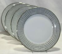 Ciroa Luxe Silver Dots Metallic Quality Porcelain Dinner Plates Set of Four New