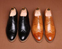 Mens Oxford Brogue Lace up Dress Wedding Formal Carved Wing-tip Business Shoes