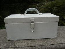 "VINTAGE 16"" METAL TOOL BOX  PAINTED IN  WHITE WITH  METAL  HANDLE"