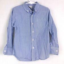 CREWCUTS Boys Sz 4/5 Blue White Striped Long Slv Button Front Casual Dress Shirt