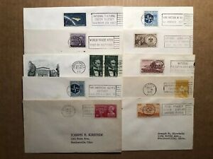 10 DIFFERENT U.S. SLOGAN CANCELLED COVERS ( 1949-1962 )