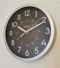 ⭐️ MAYFAIR ROUND 25CM SILVER RIMMED BLACK FACE WALL CLOCK UK GENUINE ⭐️